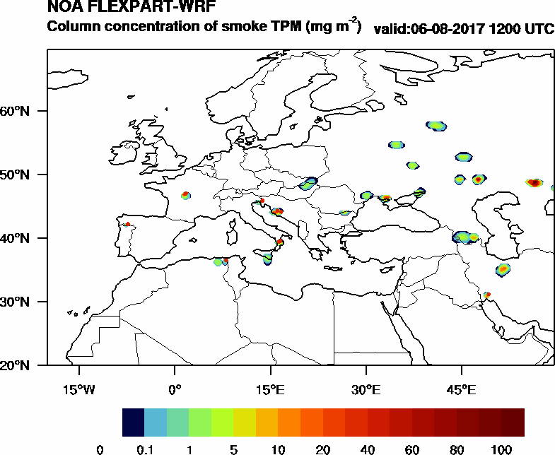 Column concentration of smoke TPM - 2017-08-06 12:00