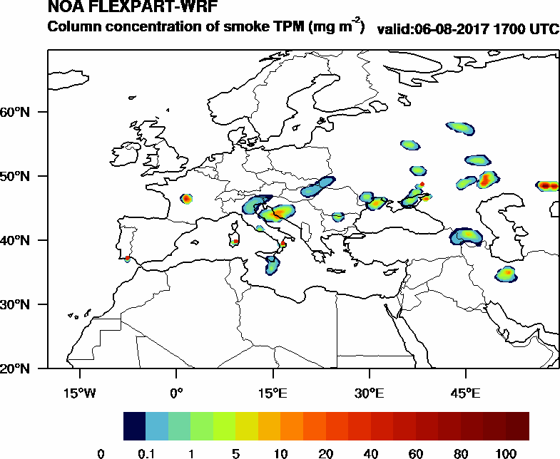 Column concentration of smoke TPM - 2017-08-06 17:00