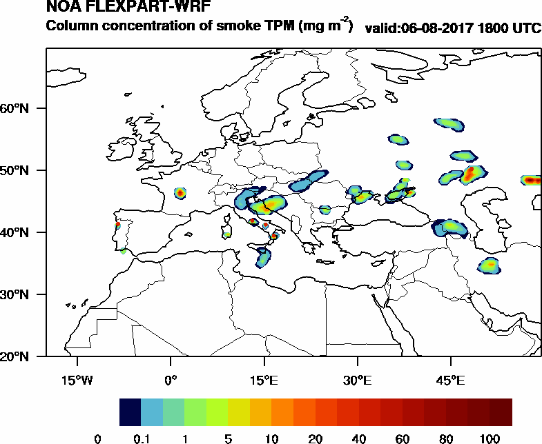 Column concentration of smoke TPM - 2017-08-06 18:00