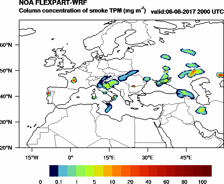Column concentration of smoke TPM - 2017-08-06 20:00