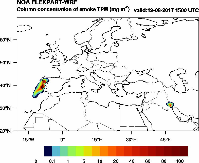 Column concentration of smoke TPM - 2017-08-12 15:00