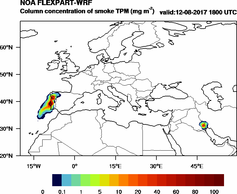 Column concentration of smoke TPM - 2017-08-12 18:00