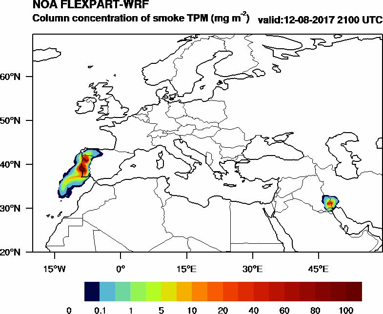 Column concentration of smoke TPM - 2017-08-12 21:00