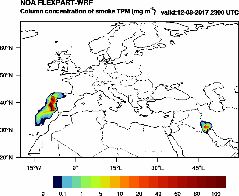 Column concentration of smoke TPM - 2017-08-12 23:00