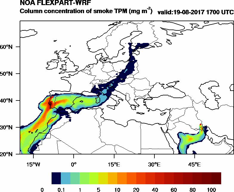 Column concentration of smoke TPM - 2017-08-19 17:00