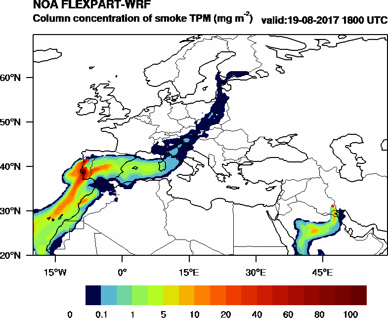 Column concentration of smoke TPM - 2017-08-19 18:00