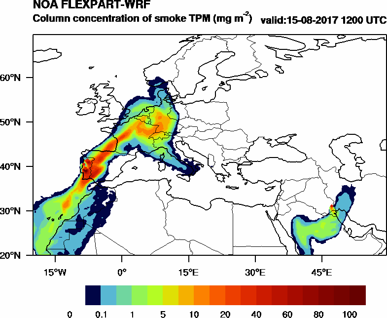 Column concentration of smoke TPM - 2017-08-15 12:00