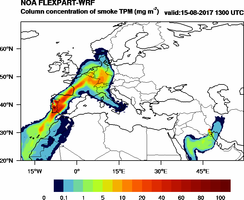Column concentration of smoke TPM - 2017-08-15 13:00
