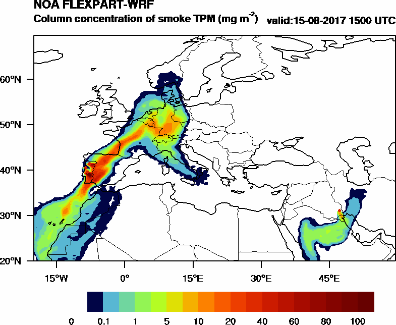 Column concentration of smoke TPM - 2017-08-15 15:00