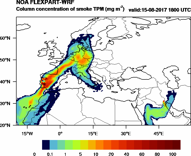 Column concentration of smoke TPM - 2017-08-15 18:00