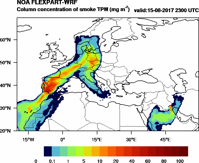 Column concentration of smoke TPM - 2017-08-15 23:00