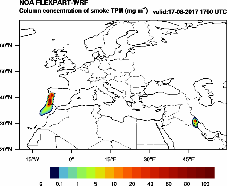 Column concentration of smoke TPM - 2017-08-17 17:00