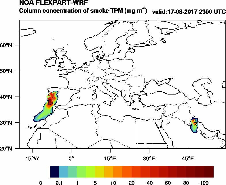 Column concentration of smoke TPM - 2017-08-17 23:00