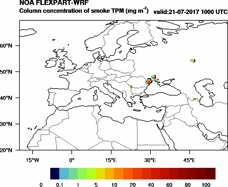 Column concentration of smoke TPM - 2017-07-21 10:00