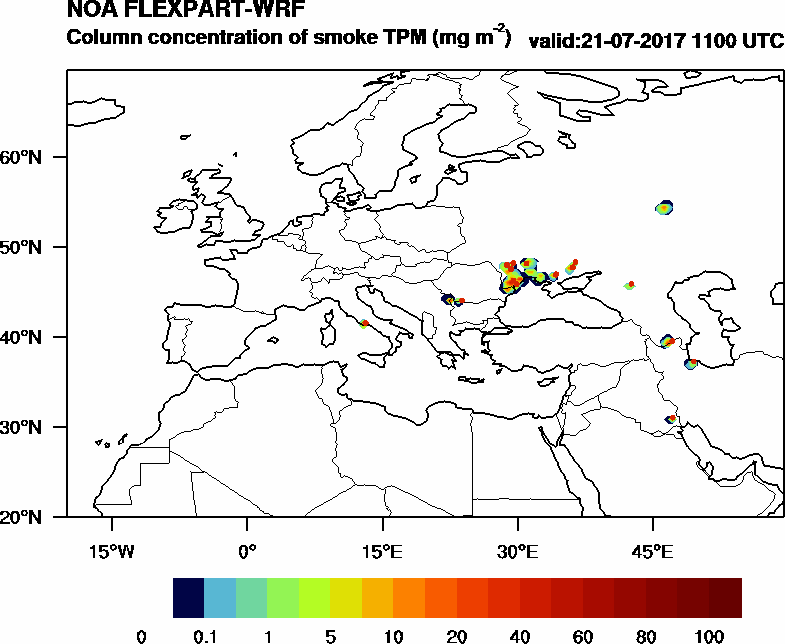 Column concentration of smoke TPM - 2017-07-21 11:00
