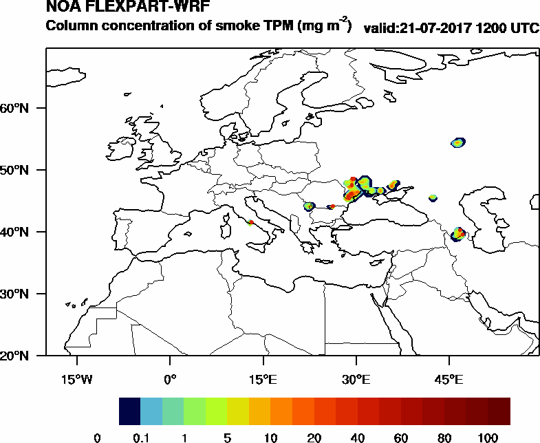 Column concentration of smoke TPM - 2017-07-21 12:00