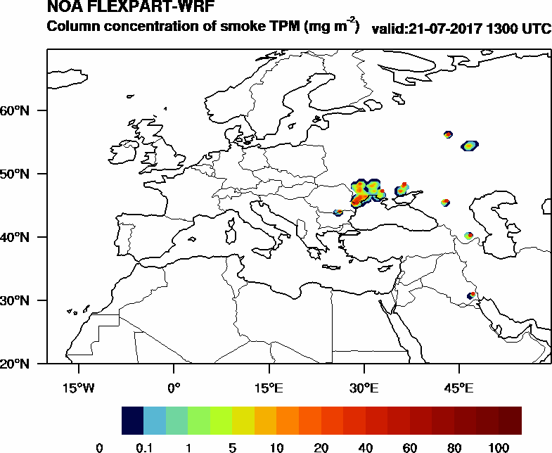 Column concentration of smoke TPM - 2017-07-21 13:00