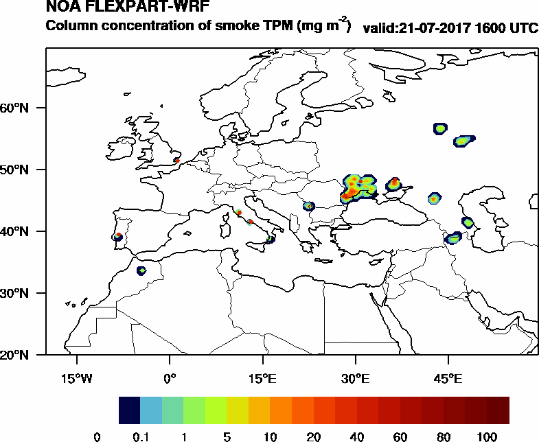 Column concentration of smoke TPM - 2017-07-21 16:00