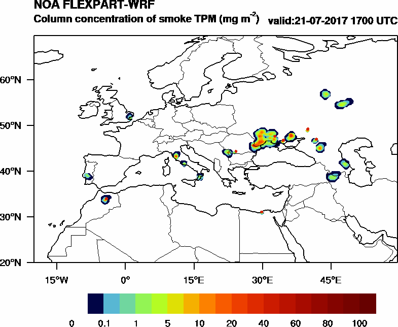 Column concentration of smoke TPM - 2017-07-21 17:00