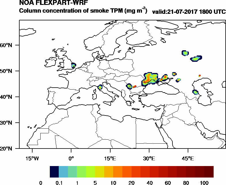 Column concentration of smoke TPM - 2017-07-21 18:00