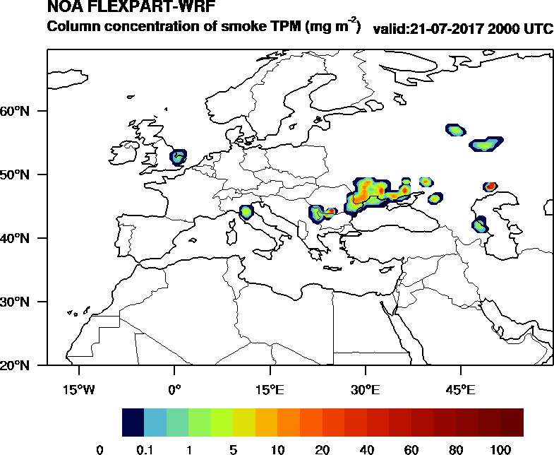 Column concentration of smoke TPM - 2017-07-21 20:00
