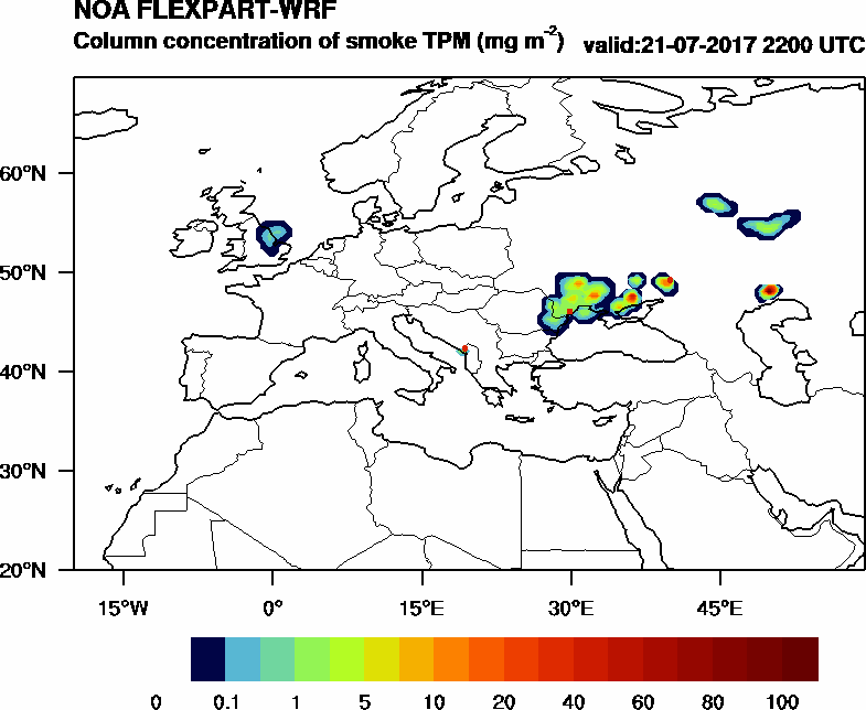 Column concentration of smoke TPM - 2017-07-21 22:00