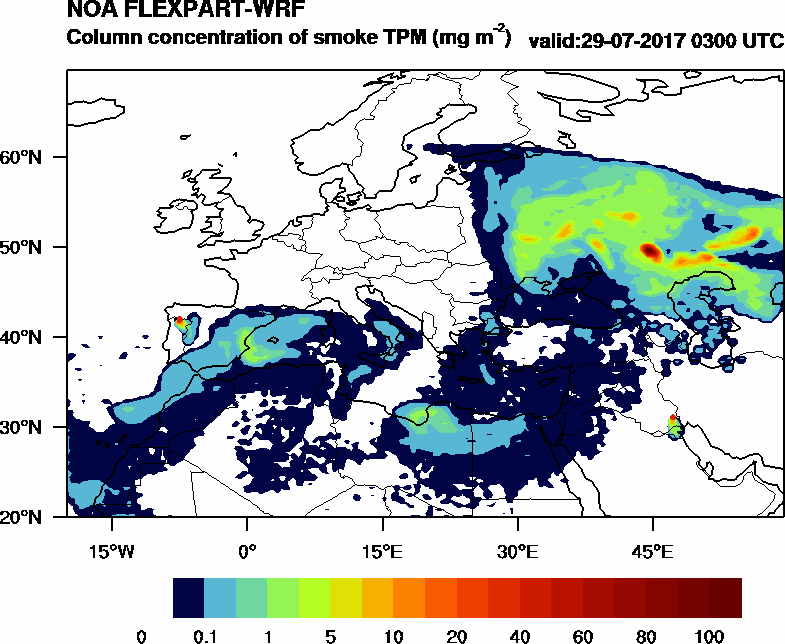 Column concentration of smoke TPM - 2017-07-29 03:00