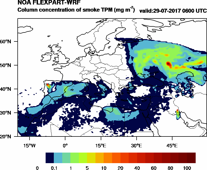 Column concentration of smoke TPM - 2017-07-29 06:00