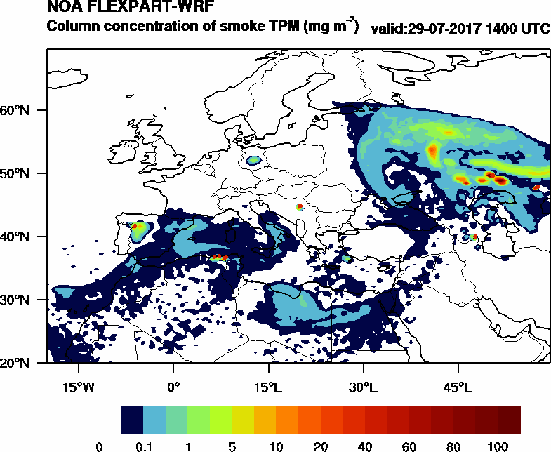 Column concentration of smoke TPM - 2017-07-29 14:00