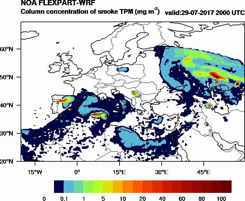 Column concentration of smoke TPM - 2017-07-29 20:00