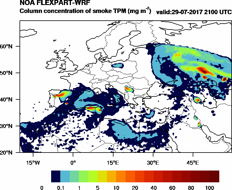 Column concentration of smoke TPM - 2017-07-29 21:00
