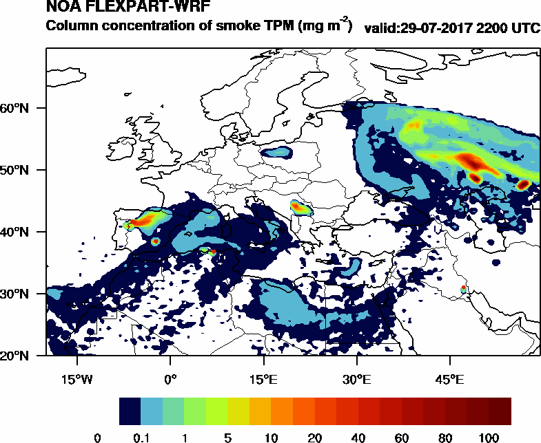 Column concentration of smoke TPM - 2017-07-29 22:00