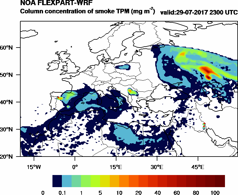 Column concentration of smoke TPM - 2017-07-29 23:00