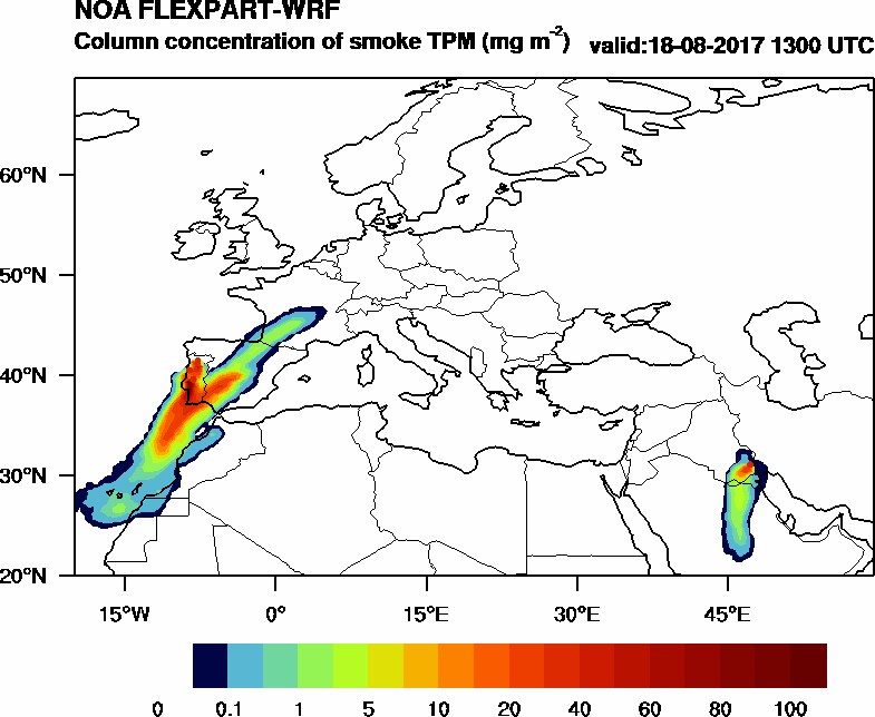 Column concentration of smoke TPM - 2017-08-18 13:00