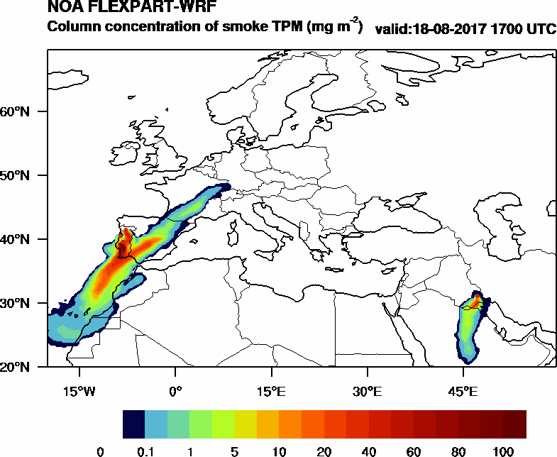 Column concentration of smoke TPM - 2017-08-18 17:00