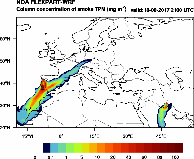 Column concentration of smoke TPM - 2017-08-18 21:00