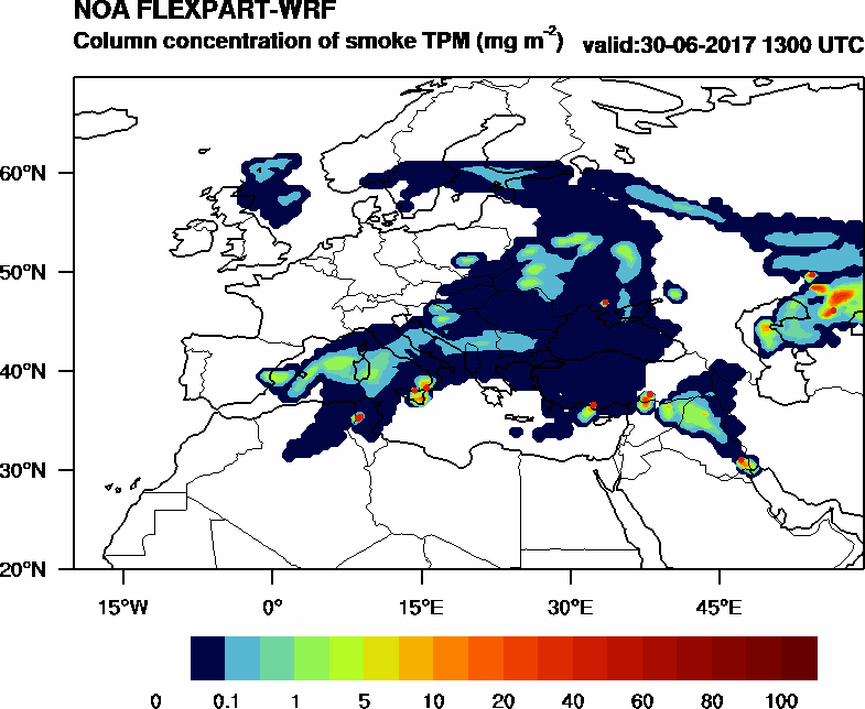 Column concentration of smoke TPM - 2017-06-30 13:00