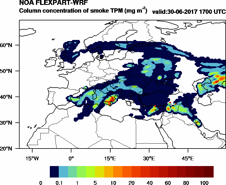 Column concentration of smoke TPM - 2017-06-30 17:00