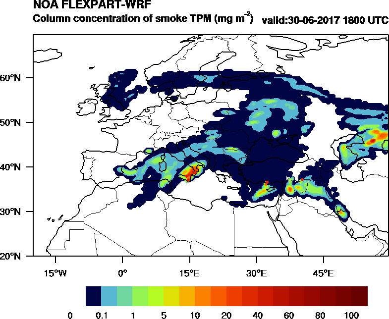 Column concentration of smoke TPM - 2017-06-30 18:00
