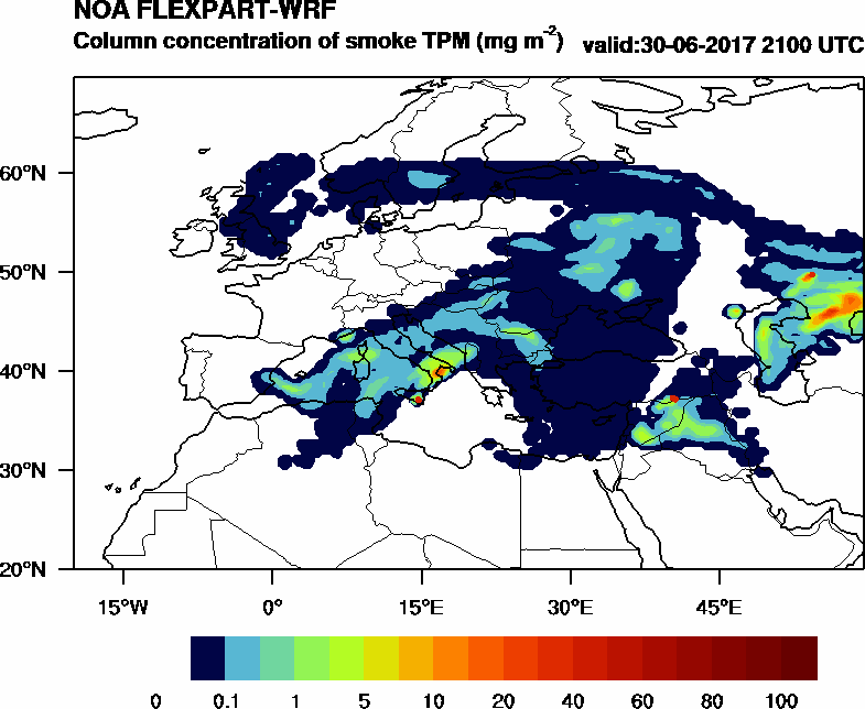 Column concentration of smoke TPM - 2017-06-30 21:00