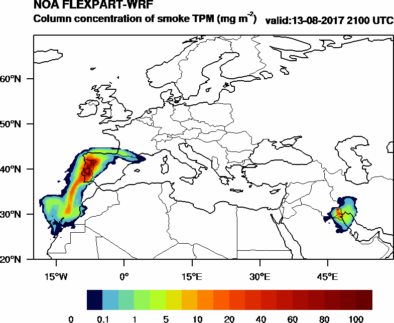 Column concentration of smoke TPM - 2017-08-13 21:00