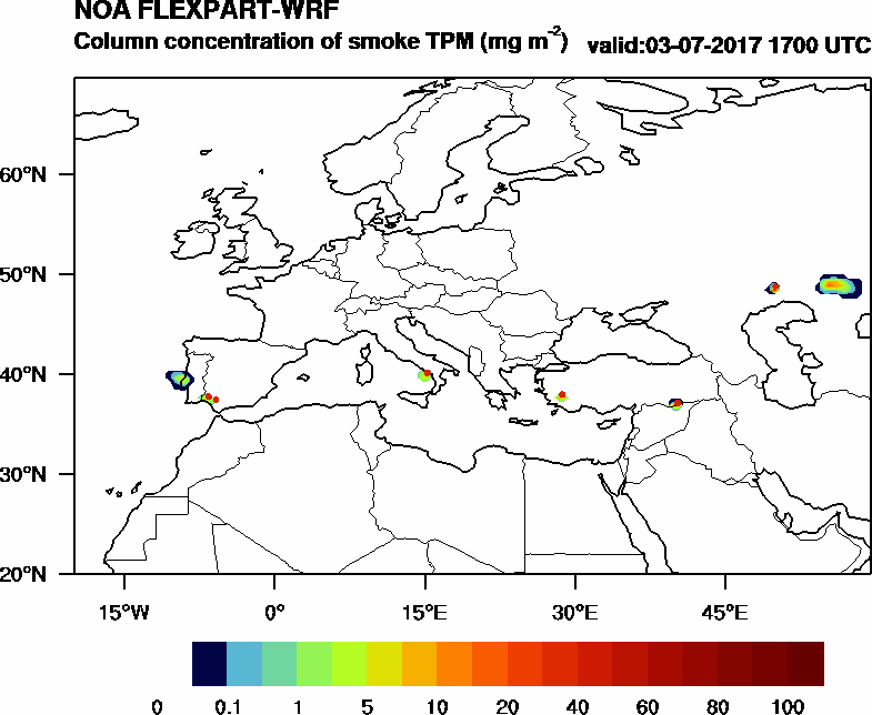 Column concentration of smoke TPM - 2017-07-03 17:00