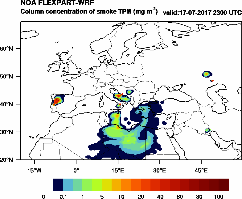 Column concentration of smoke TPM - 2017-07-17 23:00