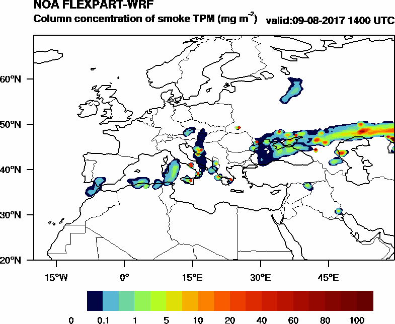 Column concentration of smoke TPM - 2017-08-09 14:00