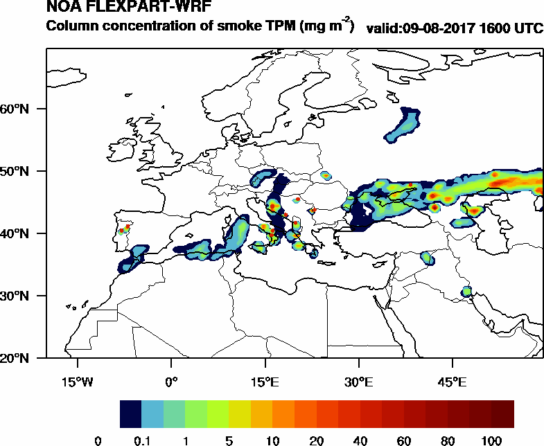 Column concentration of smoke TPM - 2017-08-09 16:00