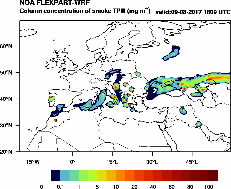 Column concentration of smoke TPM - 2017-08-09 18:00