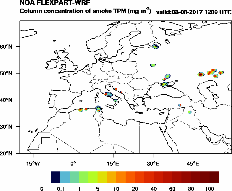 Column concentration of smoke TPM - 2017-08-08 12:00