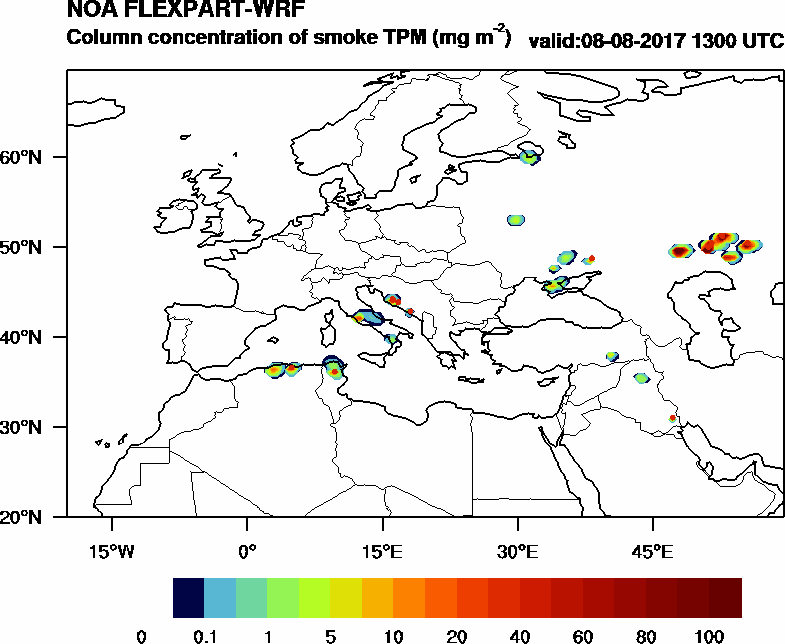 Column concentration of smoke TPM - 2017-08-08 13:00