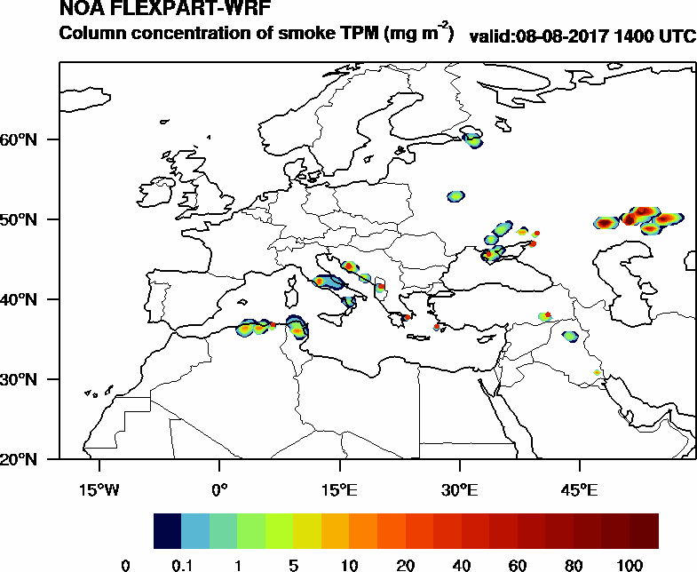 Column concentration of smoke TPM - 2017-08-08 14:00