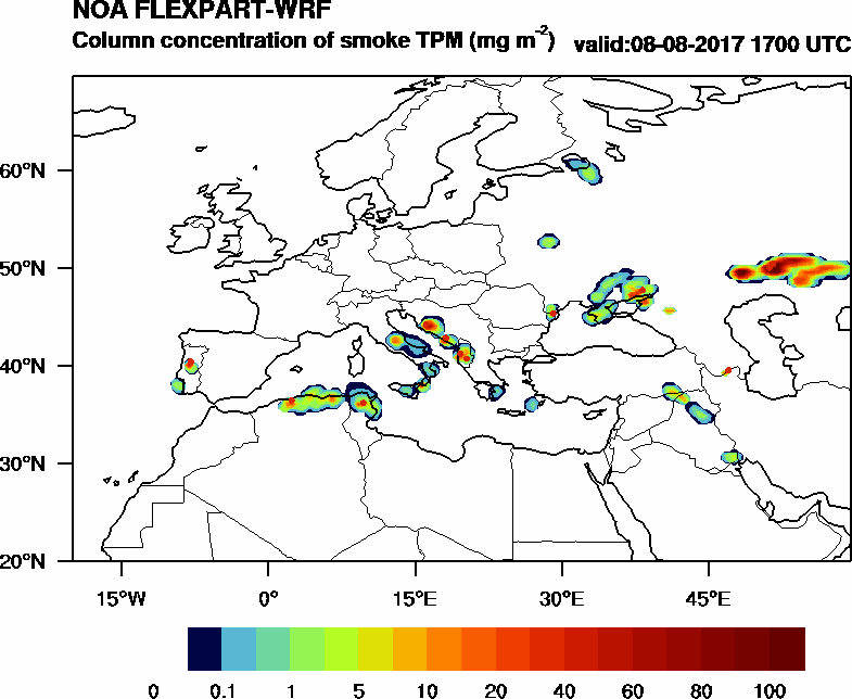 Column concentration of smoke TPM - 2017-08-08 17:00